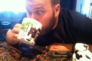 Clyde drinking his foam (just milk)
