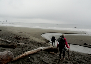 Pam and Leslie on Third Beach at Olympic NP