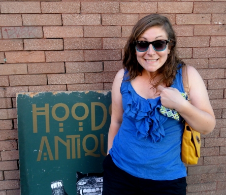 """Portland, OR is where we started seeing everything Hood because Mt. Hood is just outside the city. (okay, really this was called """"Hoodoo Antiques"""" but I got excited anyway.)"""