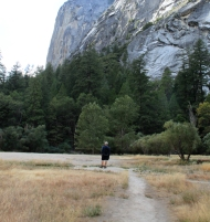 Clyde standing in the dry Mirror Lake in Yosemite Valley