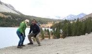 Yosemite NP. our first, very poor, but hilarious attempt at a jumping photo