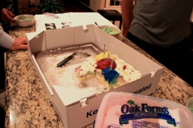 my impromtu birthday cake at the Texas Lampe's house! :)