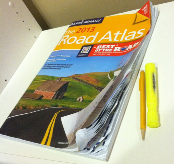 our trusty Atlas was so mangled by the end of the trip! we highlighted all the roads we traveled and used it to verify that Google maps wasn't leading us astray.