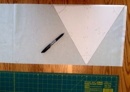 made a triangle template… now I'd cut them a different way, but it worked for us